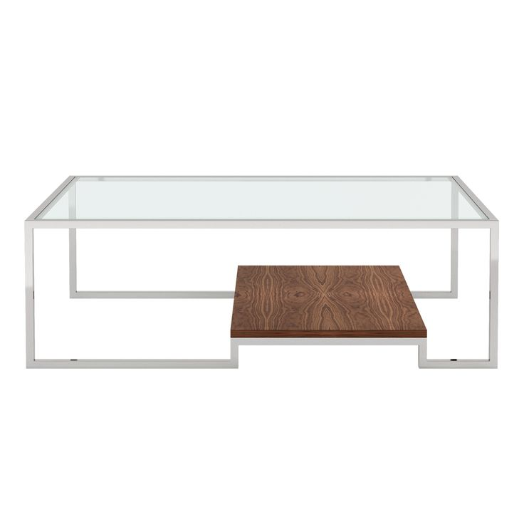 Callais Coffee Table | Laskasas | Decorate Life | www.laskasas.com |   Elegant coffee table with metal frame, walnut shelf and glass top. The soft lines and contrast of the three materials give it a sumptuous sober look.