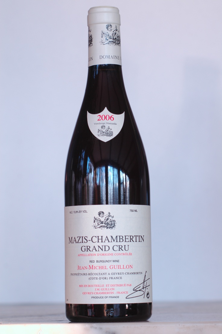 Jean-Michel Guillon Mazis-Chambertin Grand Cru 2006  This Grand Cru is all black: black cherries, blackberries with a big round texture. There's 'grip', or chewiness in this wine. So this is both big for Burgundy as well as grand. It's delicious now but will grow even more complex and fine with 10-15 years of cellar-aging. $155
