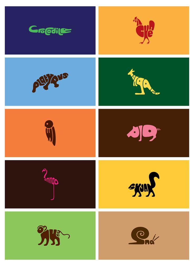 動物の名前(アルファベット)を組み合わせて描いた「Word Animals」