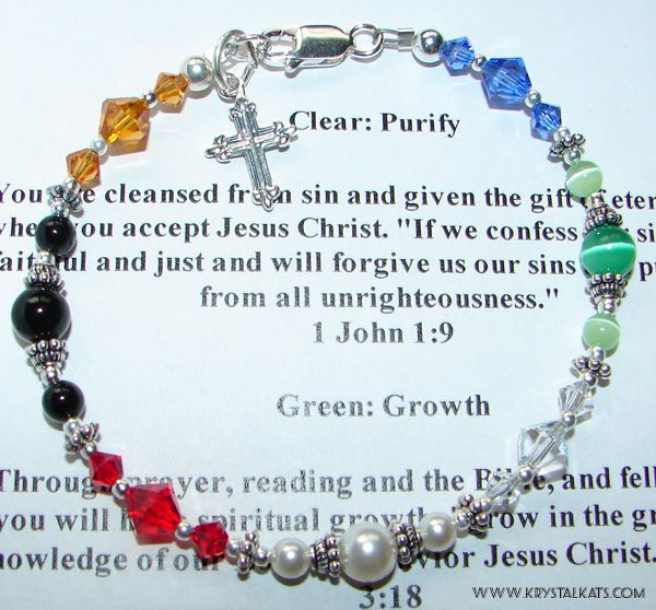 """Salvation Bracelet with Scripture to tie in the colors in the bracelet and what they are supposed to """"stand for"""". I am making one of these for Veronica's First Communion"""