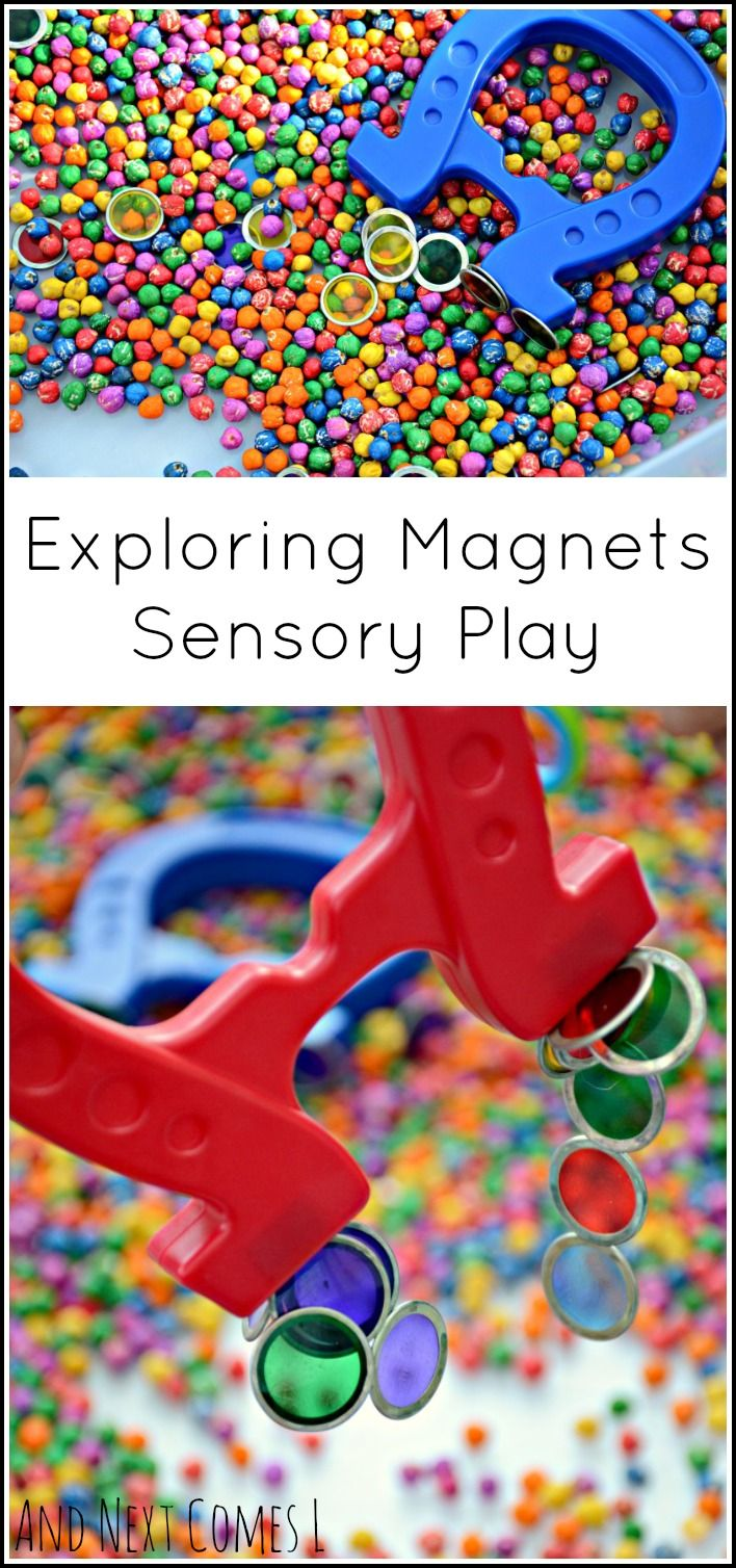 Exploring magnets through sensory play - colorful simple science for toddlers and preschoolers from And Next Comes L