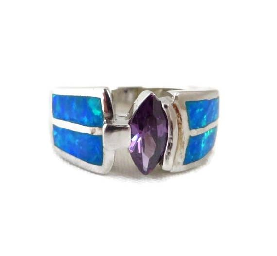 Amethyst & Opal Silver Ring Vintage Sterling Silver Wide Band