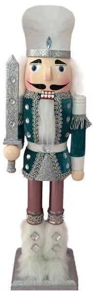 N1510: 15 inch Nutcracker with Blue Velvet and Fur Boots. 8 pieces of 15 inch Nutcrackers are included in this order