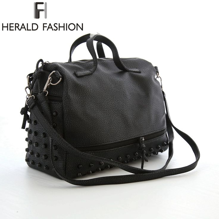Herald Fashion Designer Women Leather Handbags Large Black Shoulder Bags Rivet Ladies Tote Bags Motorcycle Bag Bolsa Feminina *** Find out more about the great product at the image link.