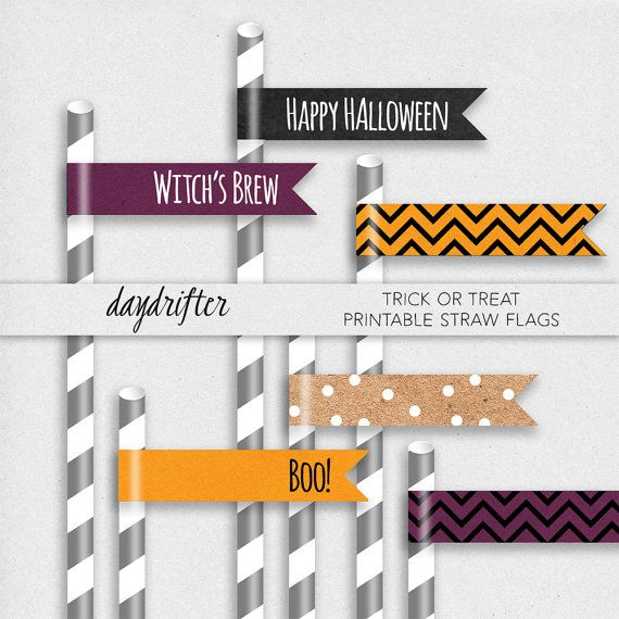 Trick or Treat Halloween Party Straw Flags   by DaydrifterDigital, $4.00