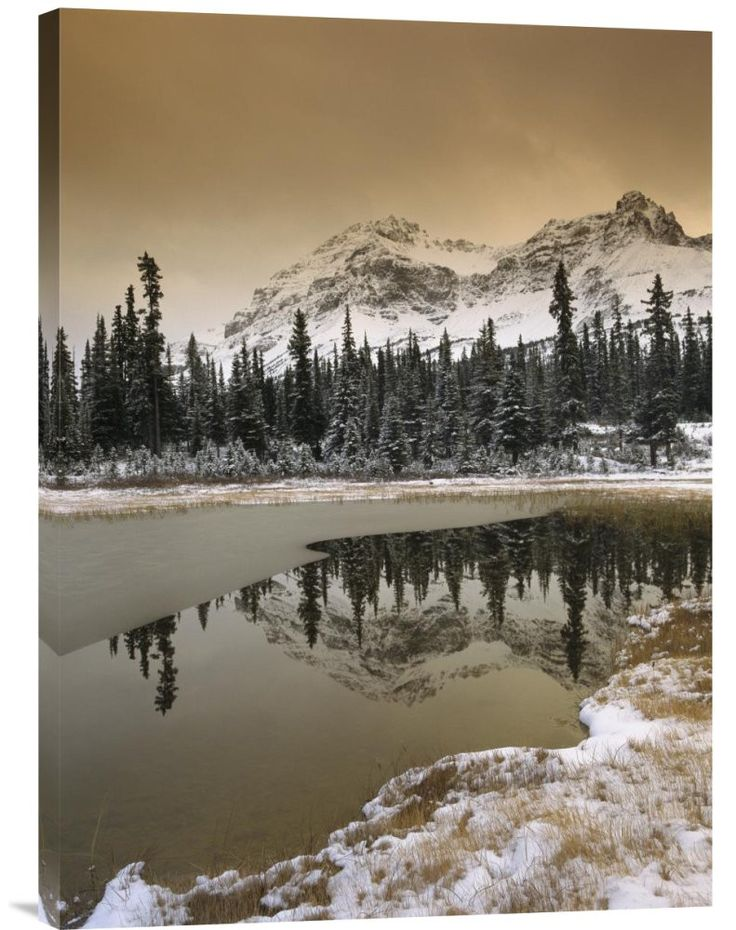 Buy inspirational vertical photo Canadian Rocky Mountains Dusted in Snow, Banff National Park, Alberta, Canada by Tim Fitzharris, which is available for sale in our inspirational mountain photos colle