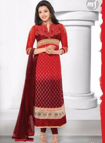 MF 46018 - Red Color Georgette Long Designer Suit