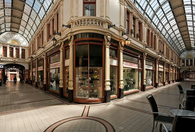 Lovely shot of Hepworth Arcade, home to the amazing Dinsdale's Joke Shop and Beasley's Clothing.