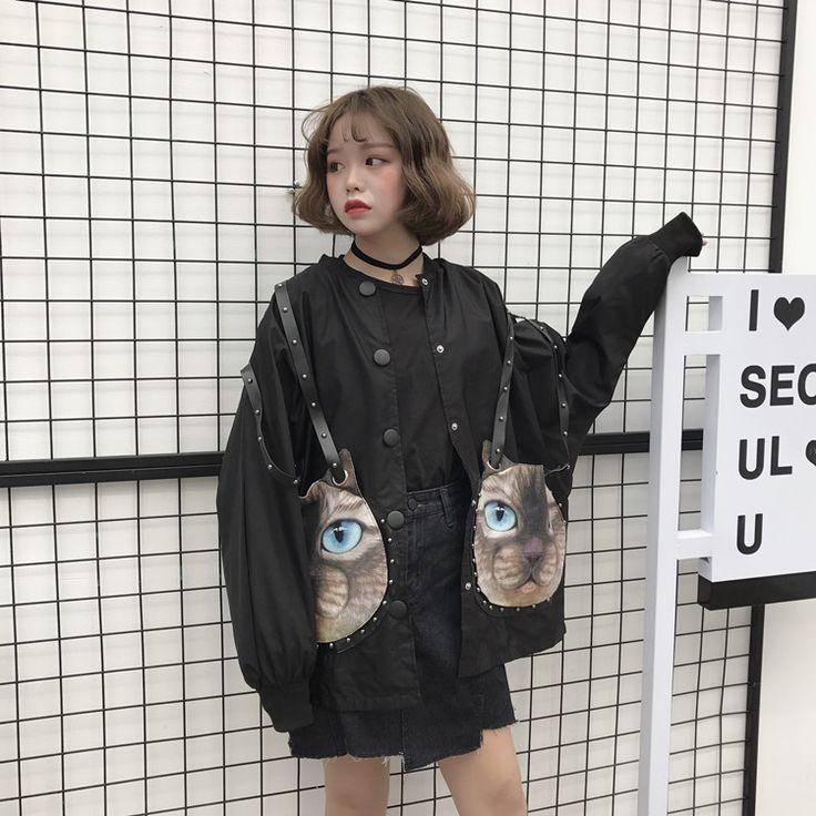 原宿系リベット付き猫形ポケットジャケット