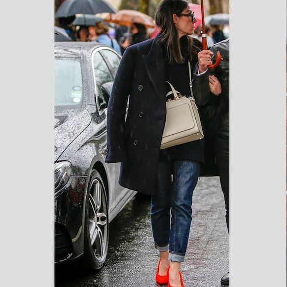 french style in rainy Paris #tbt #PFW #ootd #streetstyle #stylistontheroad wearing a #valextra bag, a #jilsander sweater and coat, #cos jeans and #ameliepichard shoes @valextra @jilsanderpr @cosstores @ameliepichard