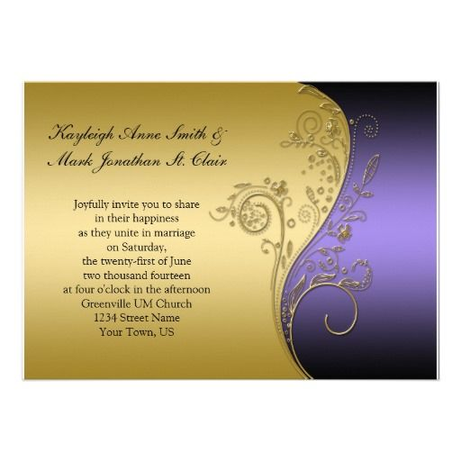 18 best Purple And Gold Wedding Invitations images on Pinterest
