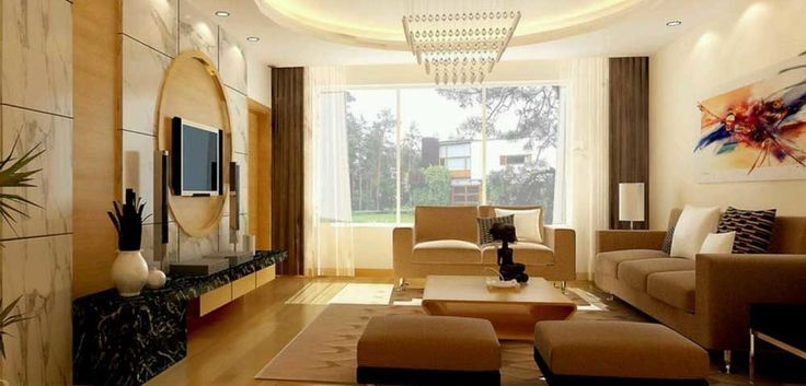 Wall Mount TV Living Room Design Ideas with laminated wooden floor and captivating brown sofa and dashing triangle crystal pendant lamp