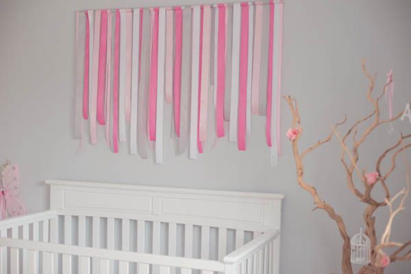 DIY Gray and Pink Ribbon Wall Decor - #nursery #nurserydecorDiy Gray, Color Schemes, Baby'S Kids, Kids Room, Ava Room, Nurseries Nurserydecor, Projects Nurseries, Colors Schemes, Baby Girls