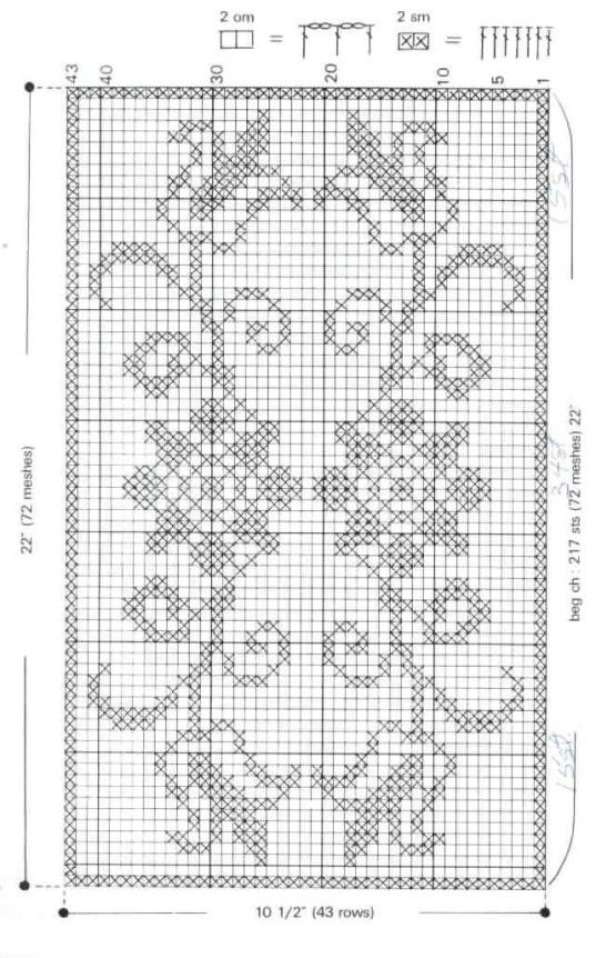 chemin de table fleuri.. rectangular rug mini cross stitch