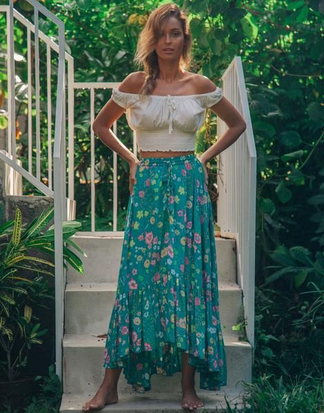Channel your inner bohemian goddess in the Florence Maxi Skirt in this  pretty and fresh colourway 50ae9cdea7ac