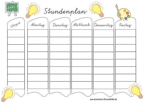 Bunter Stundenplan Zum Ausdrucken Stundenplan Vorlage Stundenplan Stundenplan Erstellen