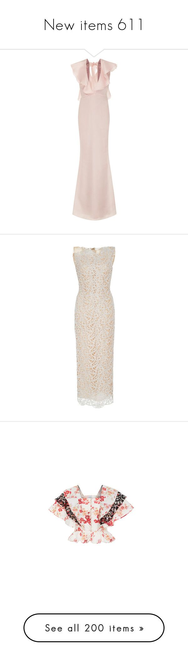 """New items 611"" by cavallaro ❤ liked on Polyvore featuring dresses, pink, plunge maxi dress, ruffle maxi dresses, pink dress, pink maxi dress, v neck dress, neutral, long evening dresses and asymmetrical dress"