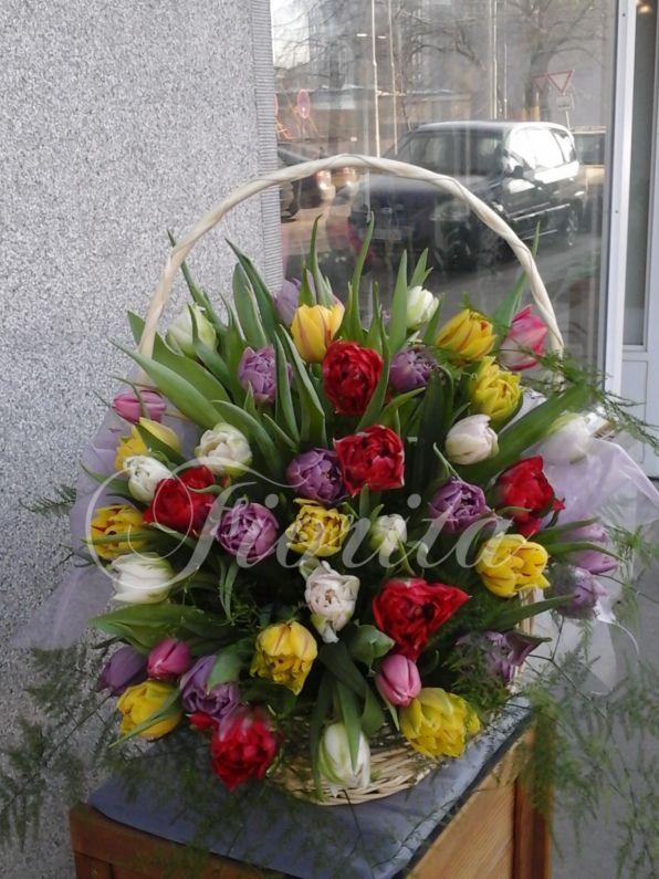 Koš s 55 tulipány