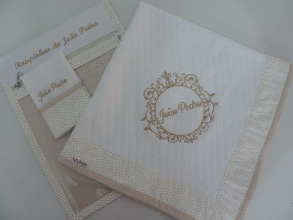kit Manta Malha Matelassê Envelope e fra