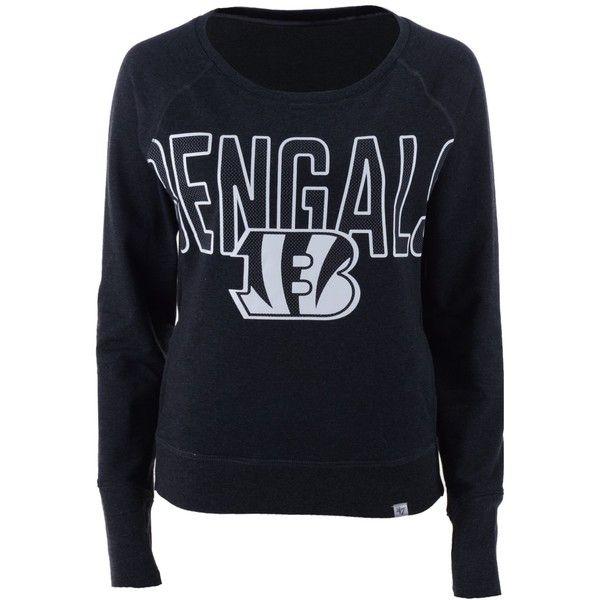 '47 Brand Women's Cincinnati Bengals React Crew Sweatshirt ($49) ❤ liked on Polyvore featuring tops, hoodies, sweatshirts, black, long sleeve pullover, nfl sweatshirts, crew neck top, thumb hole sweatshirt and '47 brand