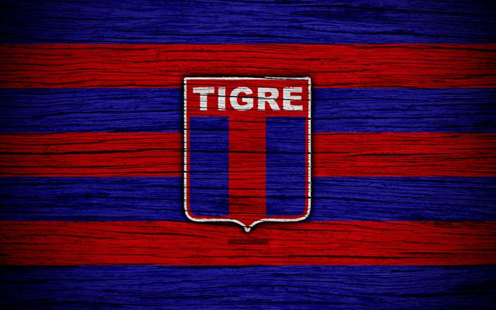 Download wallpapers Tigre, 4k, Superliga, logo, AAAJ, Argentina, soccer, Tigre FC, football club, wooden texture, FC Tigre