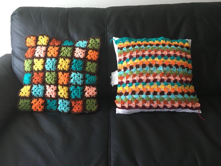 Homemade pillow cases #sofa #ideas #colorful #unique #patternt #crochet #creative #diy #hippie #vintage #original