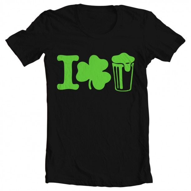 "A fun shirt for St. Patricks Day - Men's St. Patrick's Day ""I Shamrock Beer"" Tee - I love beer - Beer drinking t-shirt - Shirt for St Pattys Day - graphic tee - $22.00 - http://www.aftcra.com/mixedtees/listing/20486/mens-st-patricks-day-i-shamrock-beer-tee"