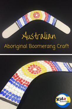 Australian Aboriginal Boomerang Craft! A fabulous activity when learning about Australia!