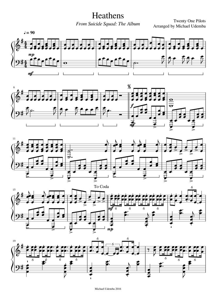 Twenty One Pilots - Heathens (Piano Sheets)