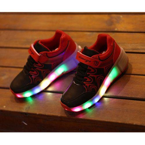 Cool Kids Girl Boy Black LED Light Up Shoes