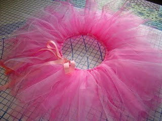 No Sew Tutu!  I used about 3-4 different tutorials to get mine just right.  Mine is 100% no sew.  About 6 yards of tulle for an adult tutu.  Have fun!