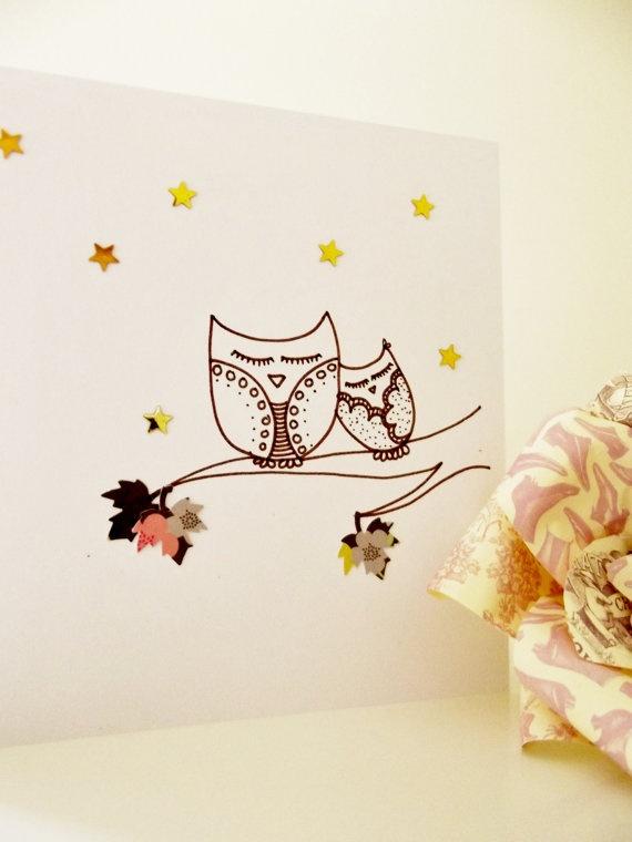 Starry night hand drawn card