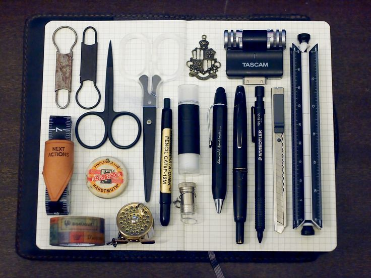 SUBMISSION: What's in my pencase Dec 2012: candy design & works, merchants & mills tape measure and scissors, scription gtd tap mod, koh-i-noor eraser, mt tape, fishing reel tape measure, Muji scissors, cutter and glue stick, charm, magnifier, Kaweco al sports touch, pilot Capless fountain pen, staedtler 925 mechanical pencil, tascam audio recorder, 8 scales in one body. Beneath: Moleskine large grid journal, saddleback leather cover.