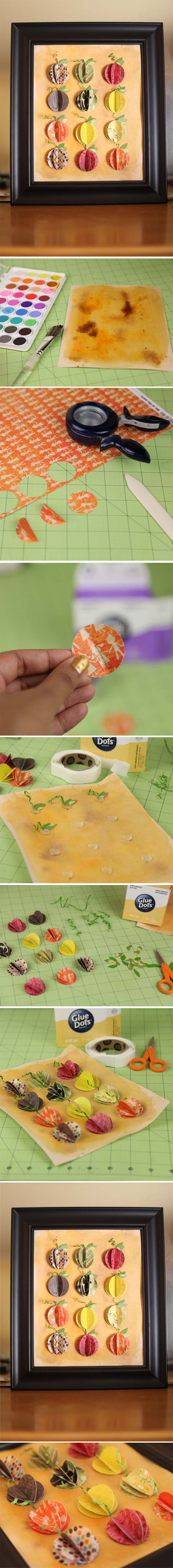 """Creating home decor items for the fall are easy! Grab a 1"""" circle punch, patterned paper and #GlueDots!"""