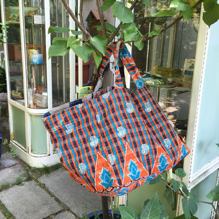 W.E. Bag made with Kantha Fabric