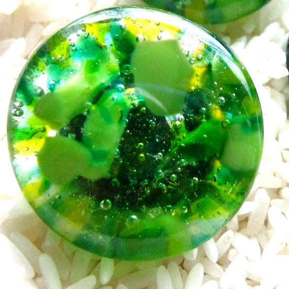 GREEN fused glass cabinet hardware knobs dresser by TorchLakeGlass