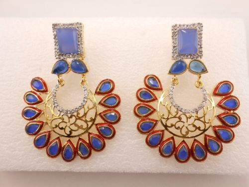 One-Pair-Women-Fashion-Earring-925-Sterling-Silver-Crystal-Rhinestone-studded-E2