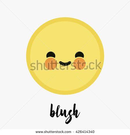 Vector Trendy Cute Blush Emoticon