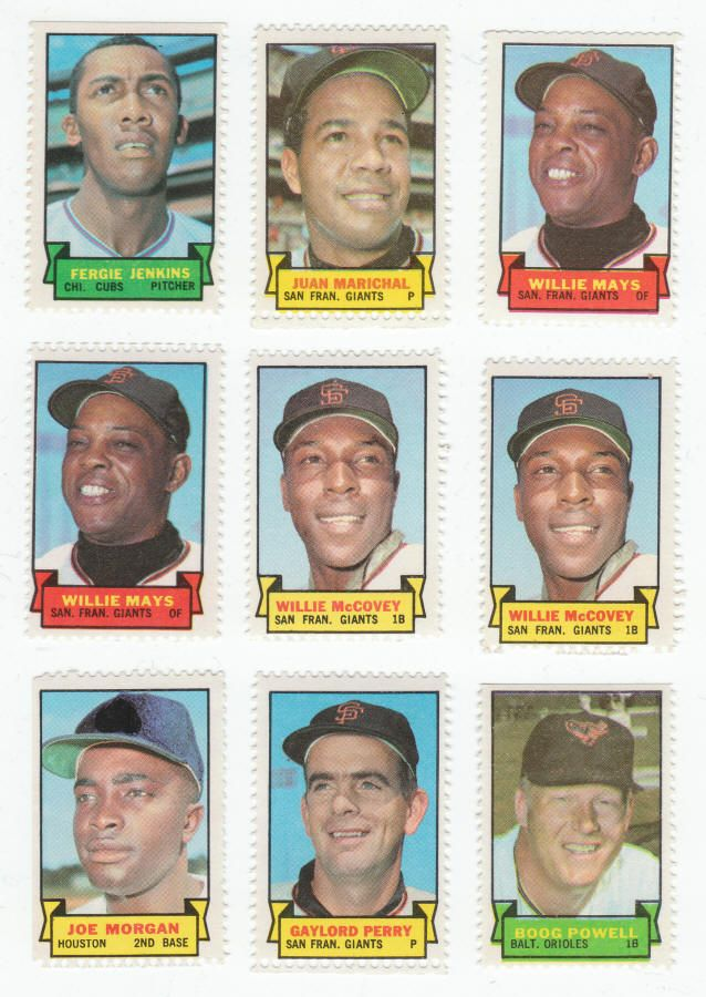 Jenkins, Marichal, Mays, McCovey, Morgan & Perry - 1969 Topps Baseball Stamps