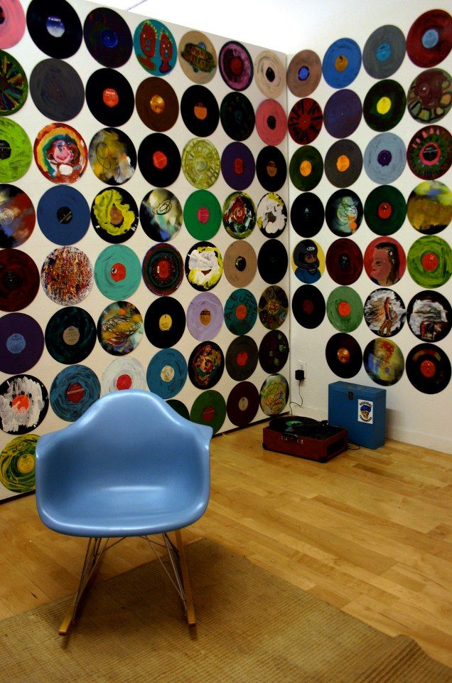 Line your walls with colored vinyl records