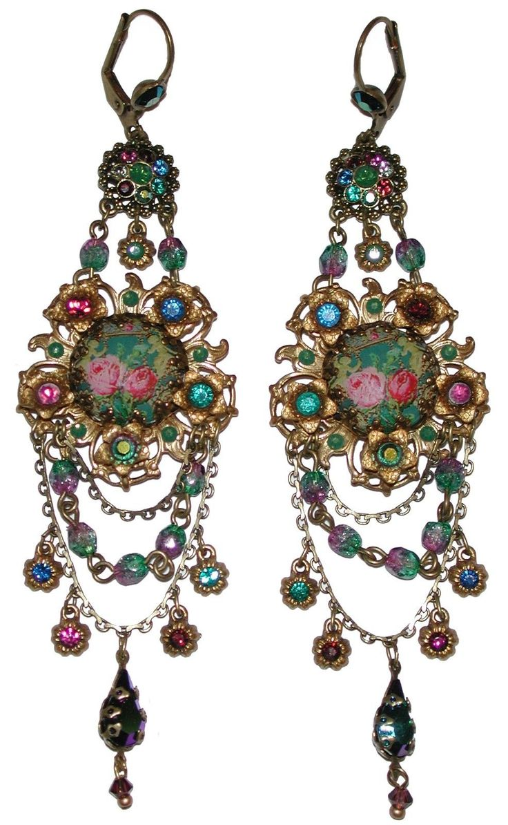 Michal Negrin Victorian Style Roses Cameo Swarovski Crystal Earrings                                                                                                                                                                                 More