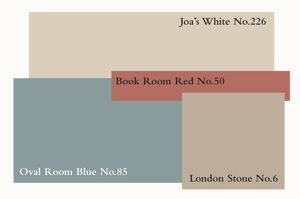 Downton Abbey Color Inspiration - Add muted colour to a kitchen inspired by the understated servant's hall at Downton. Paint walls Oval Room Blue to the dado rail level with warm Joa's White above. Accent the scheme by painting a dado line of Book Room Red around the room. Use London Stone, taken from a Nash house in Regent's Park, on doors and window frames for a suitably British feel. Farrow & Ball