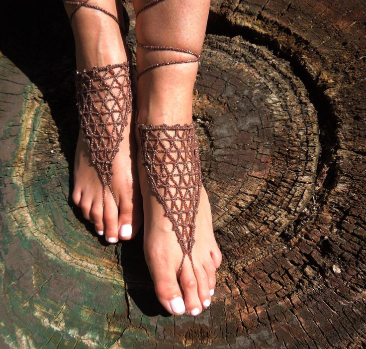 Crochet Barefoot Sandals, Foot jewelry, Wedding, Crochet Sandles, Sexy, Yoga, Anklet, Nude shoes by BeautyByBeatris on Etsy
