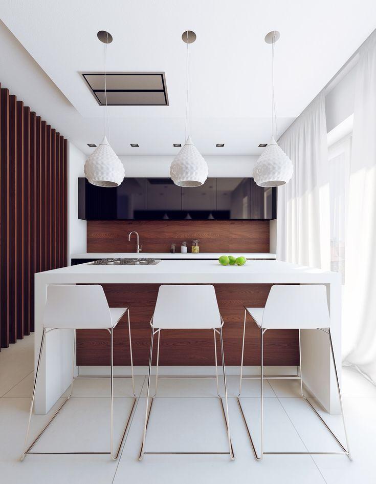 Кухня в загородном доме в стиле минимализм - Кухня в современном стиле | PINWIN - конкурсы для архитекторов, дизайнеров, декораторов