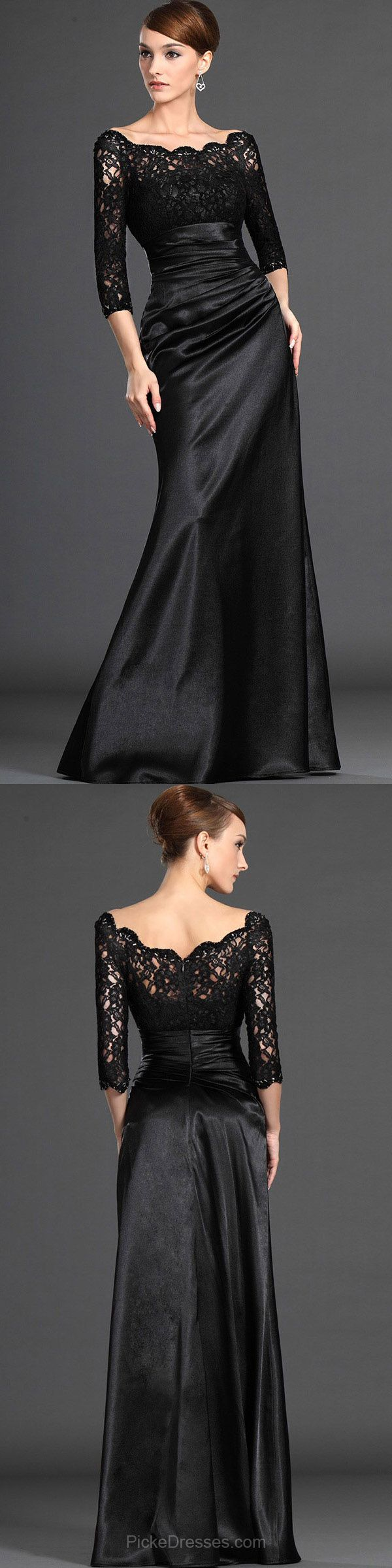 Long Prom Dresses Lace, Black Prom Dresses Mermaid 2018,  Scalloped Neck Evening Formal Party Dresses Satin with Ruffles
