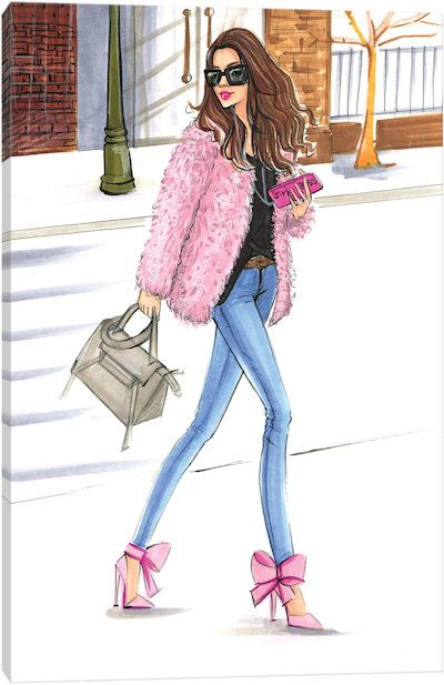 Pink Fashionistas Canvas Art Print Fashion Sketches