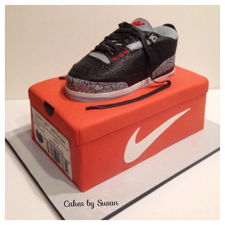 Nike Shoes Cake Design : Air Jordan Nike shoe cake with Nike box cake Birthday ...