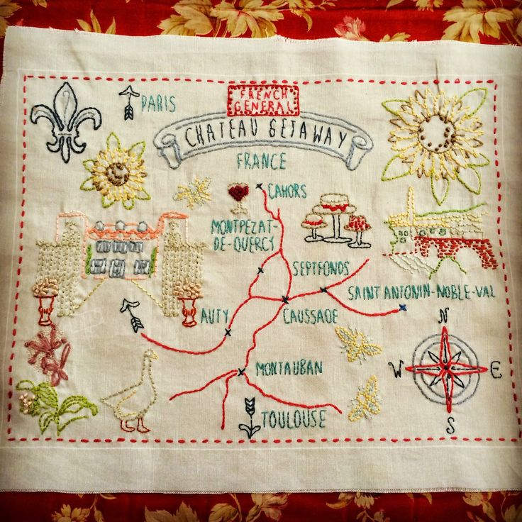 The Warp and the Weft -- French General A map of their travels in France.  Brilliant memory keeping!!  <3