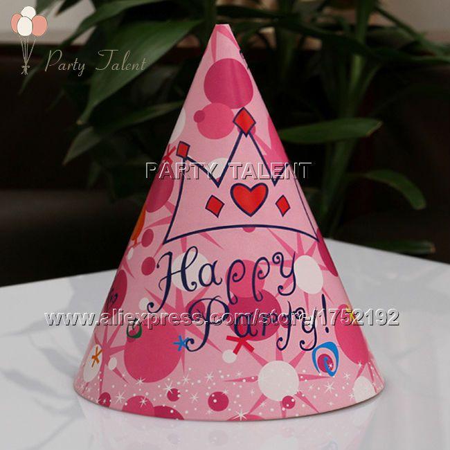 Ну вечеринку поставляет 10 шт. девушка принцесса розовый короны тема ну вечеринку, день рождения ну вечеринку бумаги украшения cap hat розовый корона мультфильм шаблон