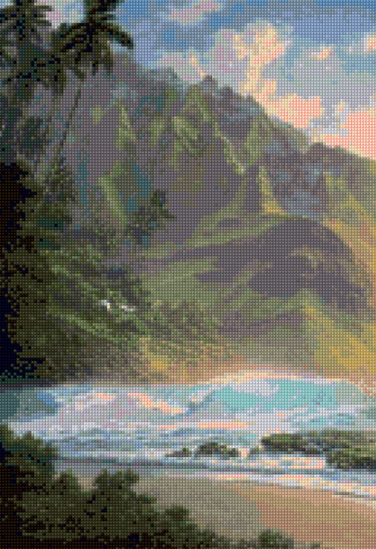 Hawaiian Ocean Beach Cross Stitch pattern PDF - Instant Download! by PenumbraCharts on Etsy